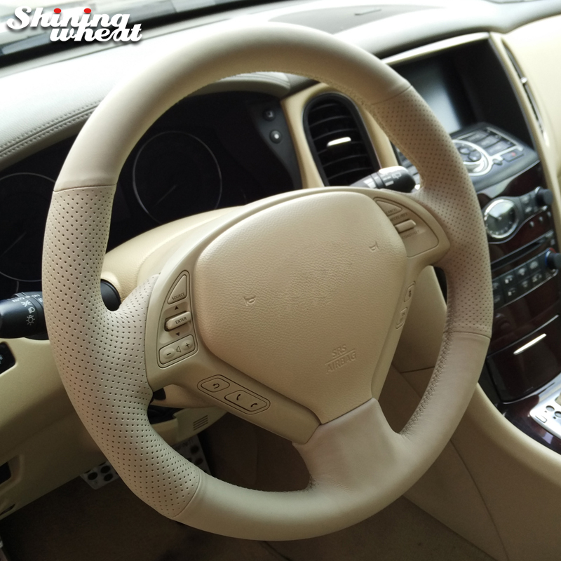 Shining wheat Hand stitched Beige Leather Steering Wheel Cover for Infiniti QX50 G25 G35 G37 EX25