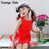 Kseniya Dzieci Lato Dla Dzieci New Baby Girl Czystej Bawełny Bluzka Koreański Wersja Czerwona Wydrążone Małe Bez Rękawów Dziewczyny T koszula