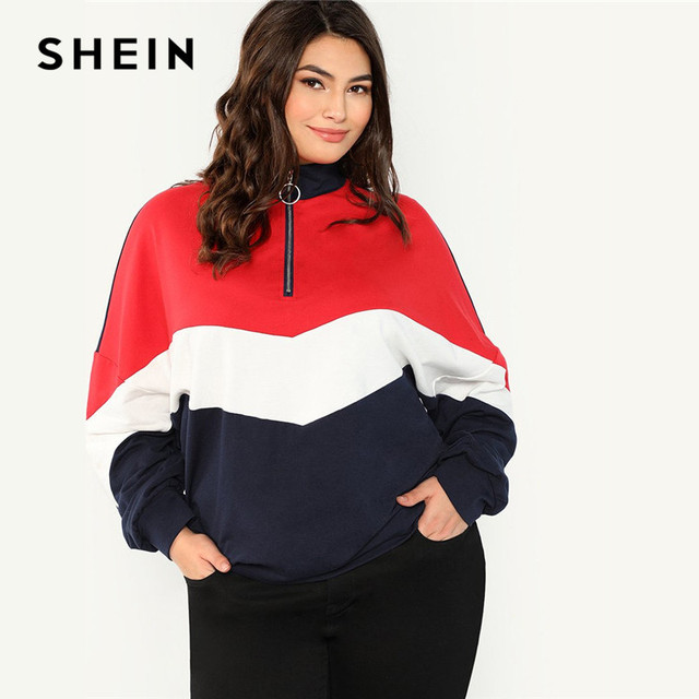 e3e83f25ea SHEIN Multicolor Plus Size Colorblock O-Ring Zipper Stand Collar Raglan Sleeve  Women Sweatshirt Autumn