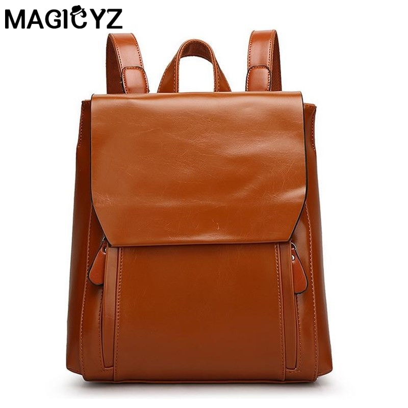 MAGICYZ High quality oil wax pu leather backpack Designers Brand women and men Back Pack Girl School Bag casual Travel backpack плед luxberry imperio 10 умбра