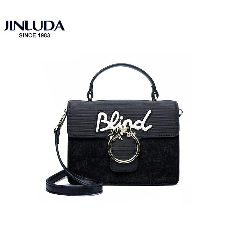 все цены на JINLUDA Women's Genuine Leather Shoulder Bags Fashion Simple Handbag Shoulder Messenger Bag Chain Solid Color Small Square Bags онлайн