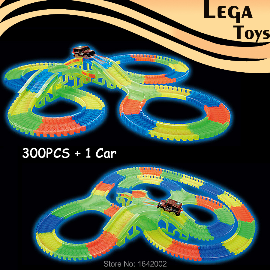 Slot Glow race track DIY Assembly Toy Car Bend Flex Flash in the Dark LED Racecar Fluorescence Puzzle Education Toys Vehicle