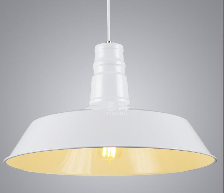 1PC Iron loft pendant lights bar cafe clothes store decoration matt white aluminum cap living dinner room pendant lamps