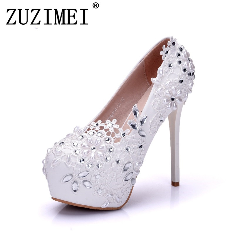 Fashion Lady White Wedding Shoes Bridesmaid Bridal Shoes Rhinestone Lace Shoes High Heels Women Pumps women s fashion gold lace dinner evening party pumps shoes plus sizes low high heels custom made bridal wedding shoes
