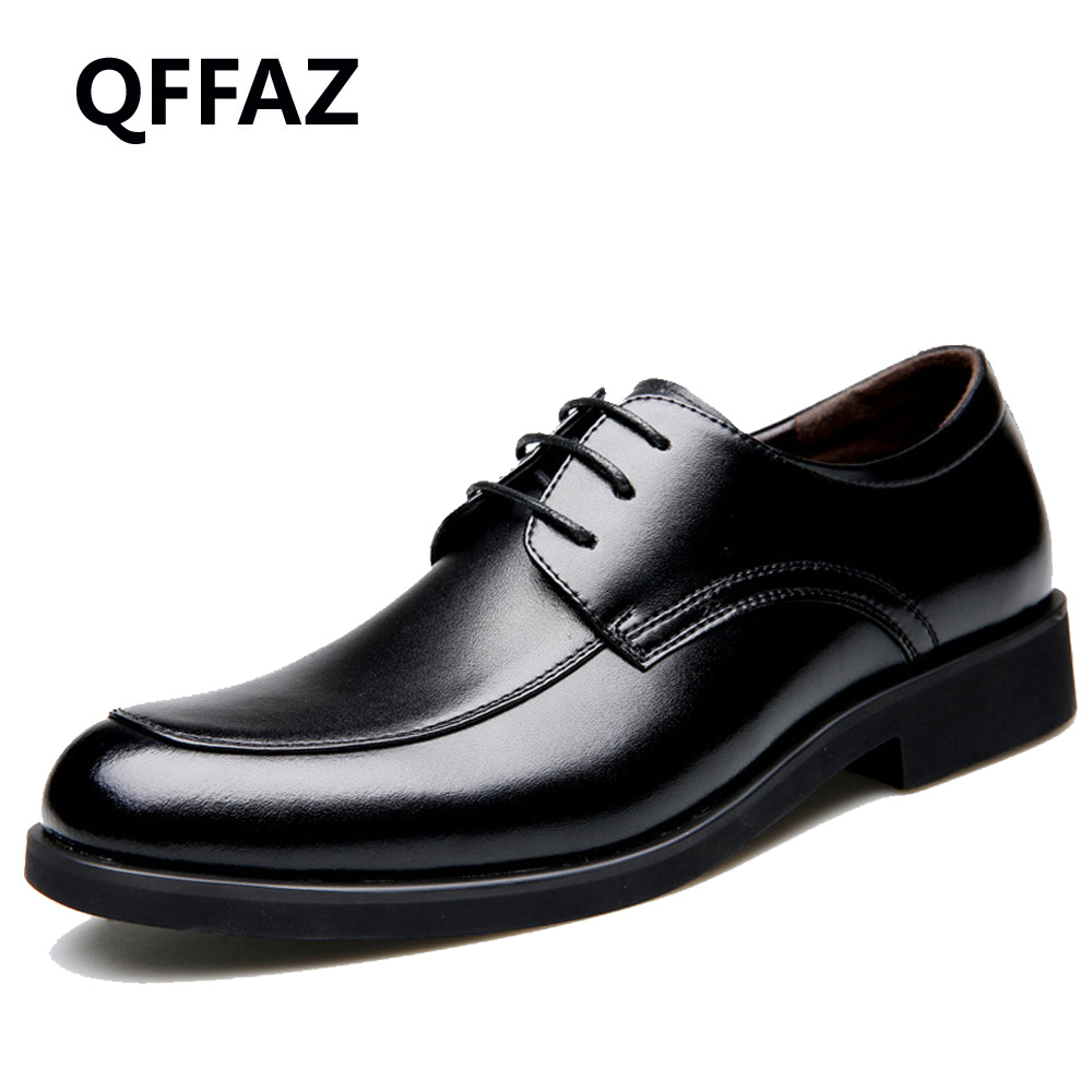 QFFAZ 2018 High Quality Genuine Leather Men's Oxfords Round Toe Lace up Platform British Designer Dress Wedding Flats Shoes designer luxury designer shoes women round toe high brand booties lace up platform ankle boots high quality espadrilles boot