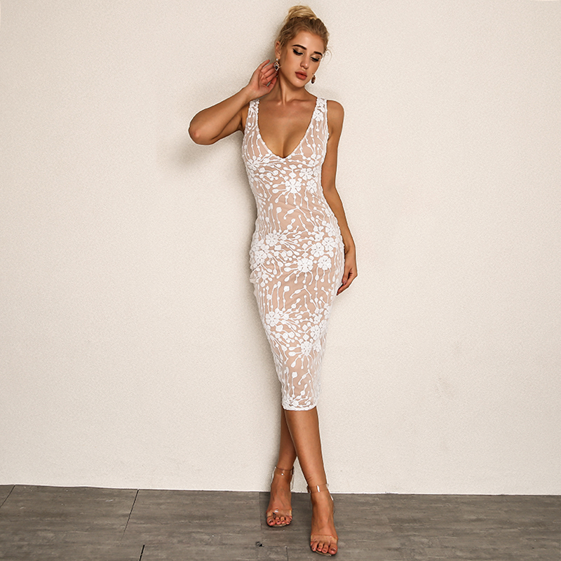 Fuedage Bodycon V Neck Tank Dress 2018 Summer Backless Mid Sequin Sexy Dress Women Casual White Sleeveless Dresses Vestidos