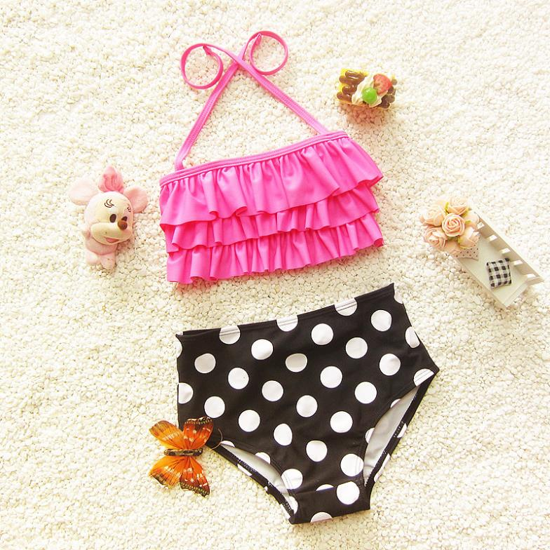 Two Pieces Dotted Halter Girls Bikini Set Swimwear Baby Kids Swimsuits Bathing Suits New 2016 a123DTAB - Sunny1978 Store store