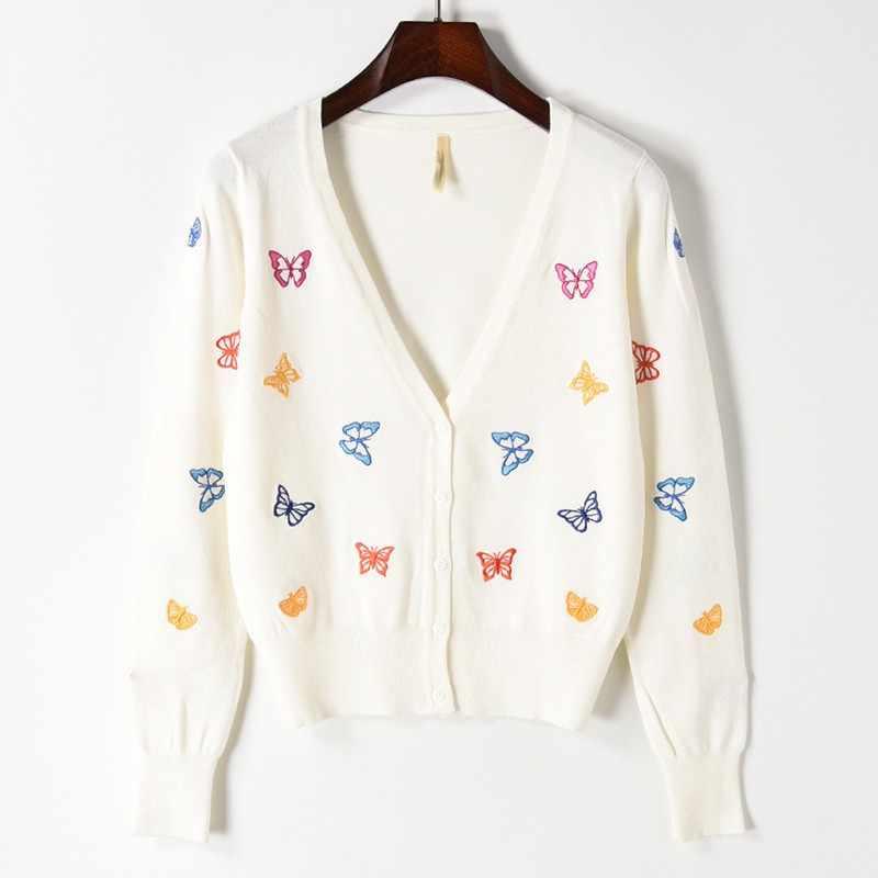 2019 весна-осень, с вышивкой кофта-бабочка пальто с v-образным вырезом кардиган Для женщин трикотажные милые укороченные кардиганы тонкая верхняя одежда пальто Mujer