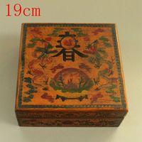 Античный старый китайский лак роспись Весна шкатулка/коробка еды 2, ручная роспись ремесла, лучшая коллекция и украшения, Бесплатная достав