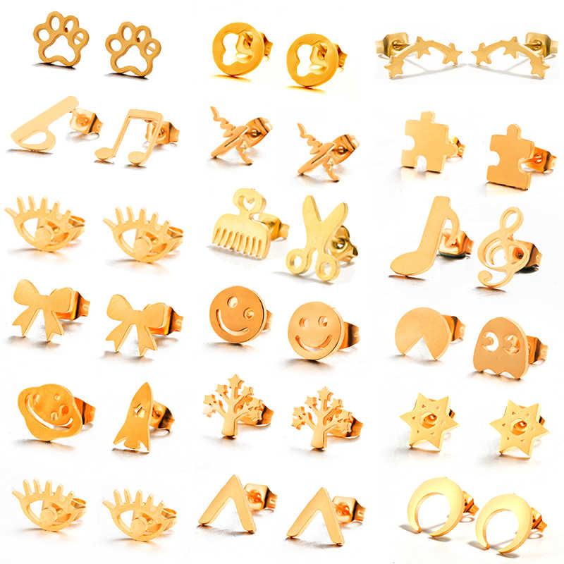 Различные золотые серьги-гвоздики из нержавеющей стали для женщин и девушек 2018 модные минималистичные серьги гвоздики ювелирные изделия подарки