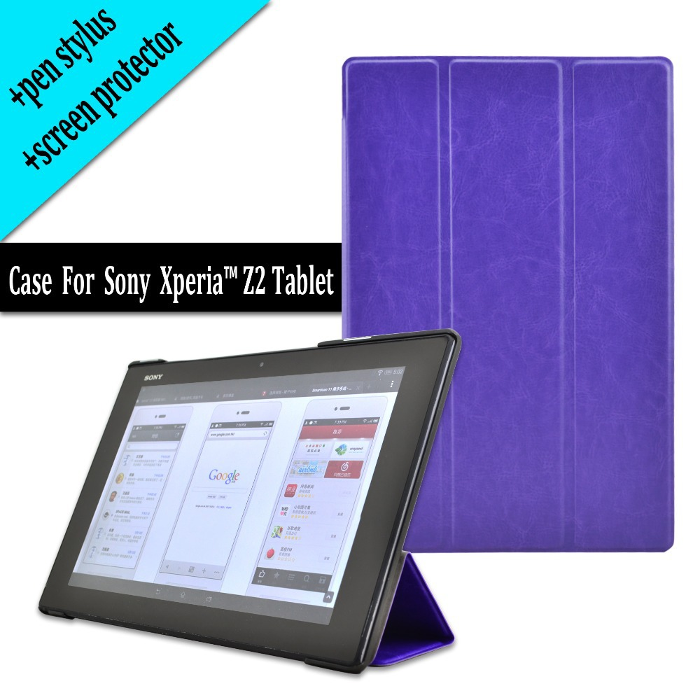 For Sony Xperia Tablet Z2 case cover pouch rotating design free shipping+screen protector+ pen stylus gift ultra thin smart flip pu leather cover for lenovo tab 2 a10 30 70f x30f x30m 10 1 tablet case screen protector stylus pen