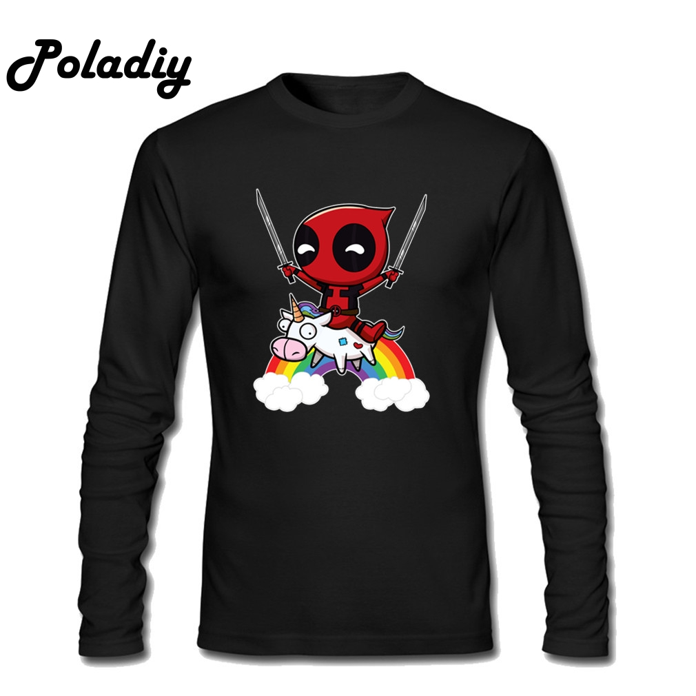 Riding a Unicorn T-Shirt Deadpool Long Sleeve T Shirt Men Women Cotton Spring Fashion Casual Streetwear Hip Hop Long T-shirt Top