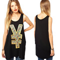 2017 summer women tops European and American street black casual print vest medium long slim o-neck plus size shirts XS-XXL