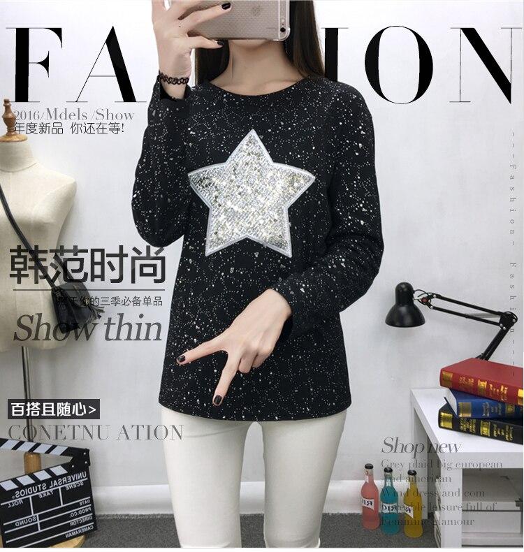 4xl plus grande taille blusas feminina printemps été 2017 femmes coréennes étoiles paillettes nouveau noir gris t-shirts femelle A2554