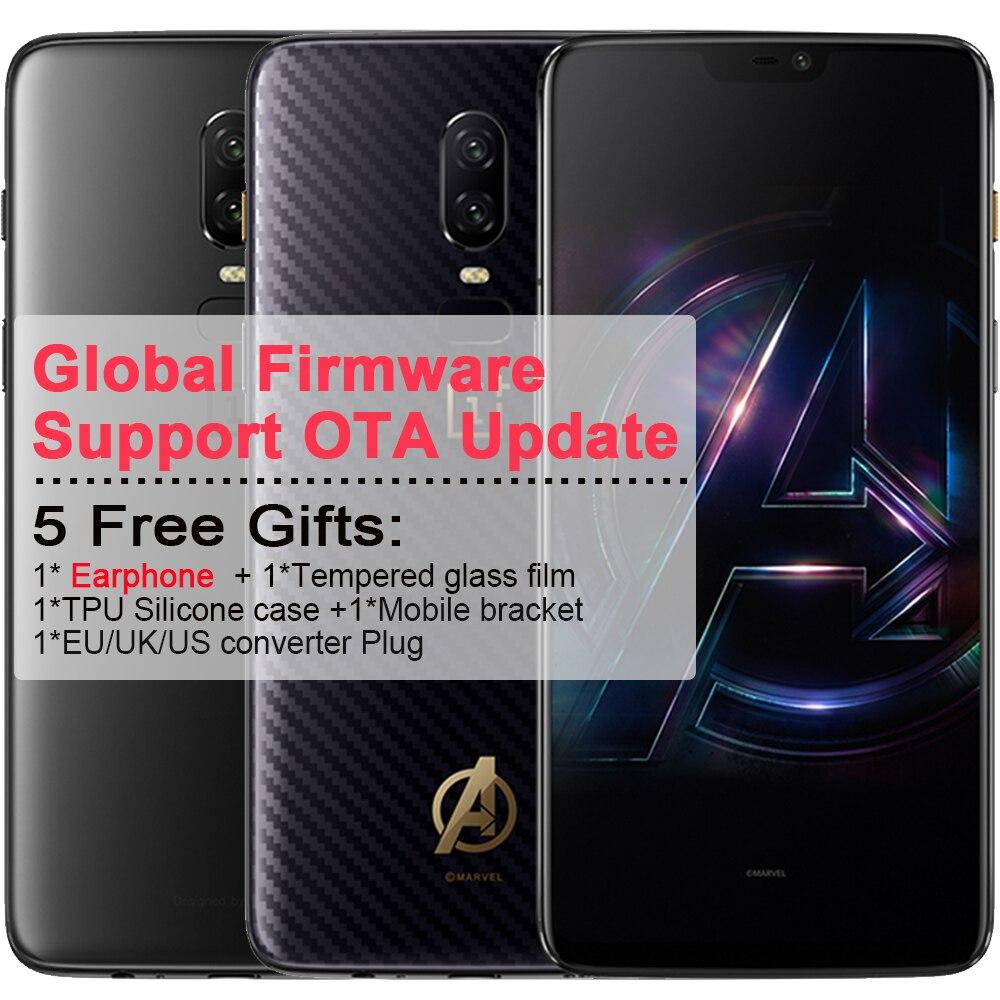 Oneplus 6 Phone Mobile 6.28 ''Pieno schermo 8 GB di RAM 256 ROM Android 8.1 Snapdragon 845 Octa Core 2.7 GHz Dual Camrea 20 + 16 MP telefono