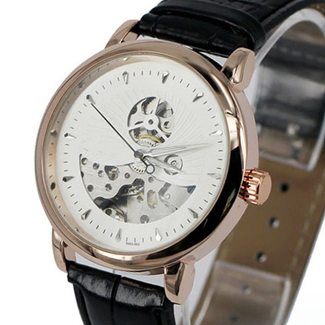 Female Mechanical Watch Ladies Leather Wristwatch Automatic Self Wind Free Shipping 2017 Fashion Brand Woman Gold Watches LZ303 k colouring women ladies automatic self wind watch hollow skeleton mechanical wristwatch for gift box