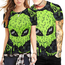 New Fashion Men/women T-shirt 3d Short Sleeve Digital Print Green Skull Summer Tees Slim Tops T-shirt