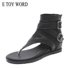 E TOY WORD 2019 summer comfortable flat womens sandals Roman wild breathable mesh flip-flop shoes increased Leisure women