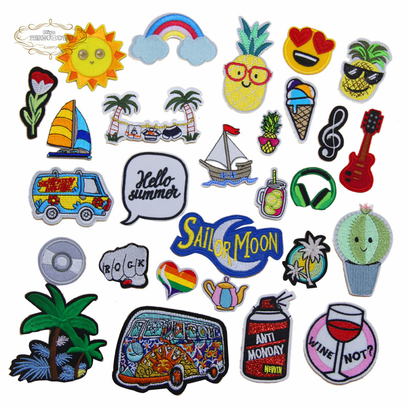 Methodical 1 Pcs Sun Rainbow Wine Summer Beach Tree Music Embroidered Iron On Cartoon Patches Clothing Diy Bag Hat Shoe Repair Appliques To Be Renowned Both At Home And Abroad For Exquisite Workmanship Arts,crafts & Sewing Skillful Knitting And Elegant Design Home & Garden