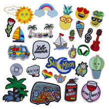 1 pcs Sun rainbow wine summer beach tree music embroidered iron on cartoon patches clothing diy bag hat shoe repair Appliques(China)