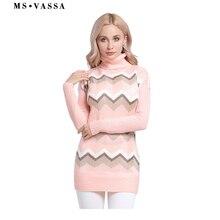 MS VASSA Plus size Sweaters Ladies 2018 New Knitted stripe Women pullovers Autumn Winter Turtleneck jumpers oversized 5XL