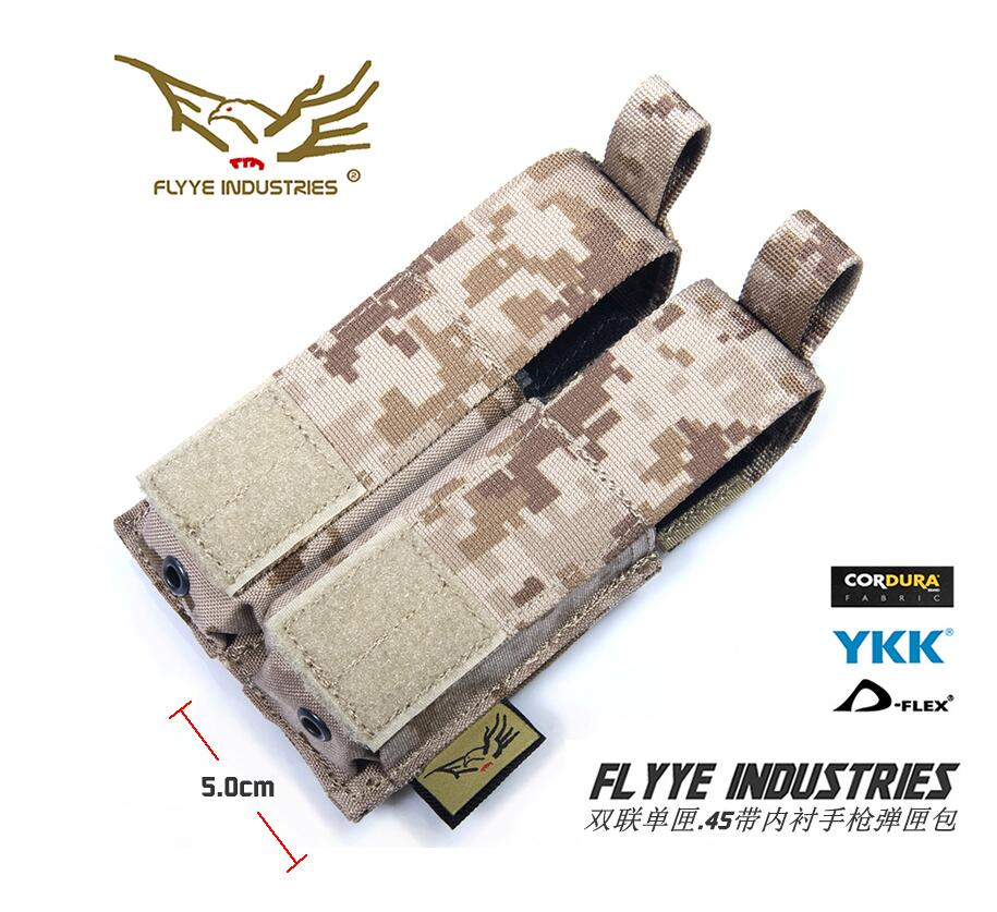 FLYYE MOLLE Tactical Pouches Double .45 Pistol Magazine Pouch for Glock 1911 MEU Thin Mag Military Modular Combat CORDURA P006