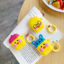 Cartoon 3D Duck lifting rope Wireless Bluetooth Earphone Case For Apple AirPods Silicone Charging Shockproof Bumper