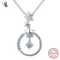 SUMMER LOVE 3 Stars Square Genuine 925 Sterling Silver   Pendant Necklace Cubic zirconia For Women Jewelry Collar Colar de Plata