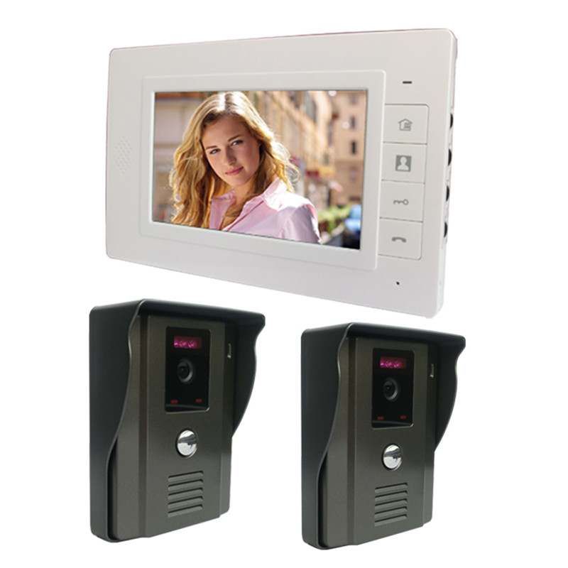 """Plichtmatig Gratis Schip Nieuwe Home Security 7 """"wired Video Deurtelefoon Intercom Systeem Kit + 1 Wit Monitor + Twee Nachtzicht Outdoor Camera"""
