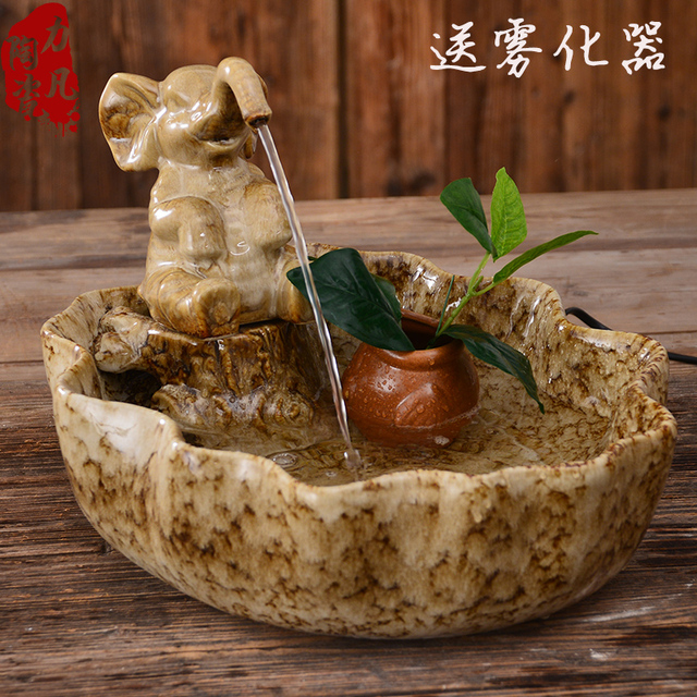 Crafts Decor Hand Wedding Cutting Dies Home Lucky Elephant Chinese Ceramic  Aquarium Water Fountain Room Decoration