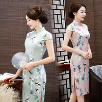 Sheng Coco Pink Flowers Qipao Chinese Cheongsam Dresses Ladies Short Party Daily Silk Satin Dress Gentle Pink Plus Size Suzhou