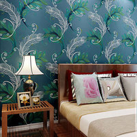 Luxury Peacock Feathers Silver Wall Paper Non-woven Wallpaper Roll Decor Mural Creative Papier Peint Abstract Wall Decals QZ0022