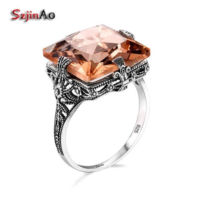 Szjinao 925 Sterling Silver Rings đối với Phụ Nữ Quảng Trường Hổ Phách Engagement Ring Hollow Punk Nữ Đơn Giản Ringen Anel Bán Buôn