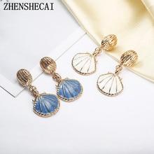 Romantic Resin Colorful Mermaid white blue Pearl Shell drop Earrings Simple Cute Brincos Unique Earrings Mermaid Jewelry e027
