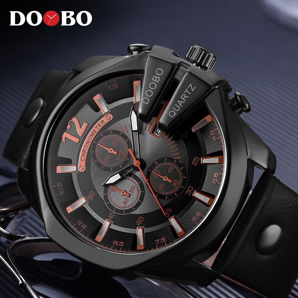 Relogio Masculino Big Dial Men DOOBO Watches Top Luxury Brand Black Quartz Military Wrist Watch Men Clock Men's Sports Watch New