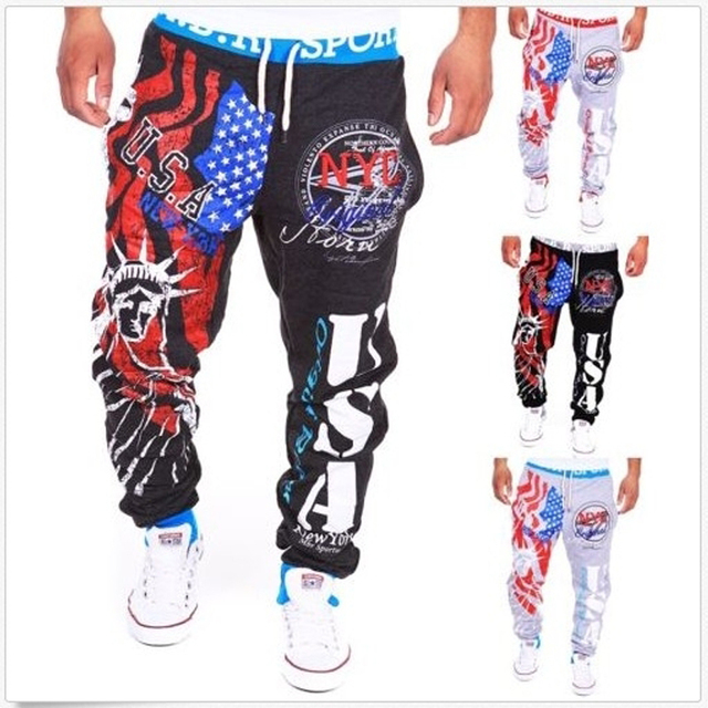 Free delivery 2016 explosion models sweatpants Italian flag print design casual pants