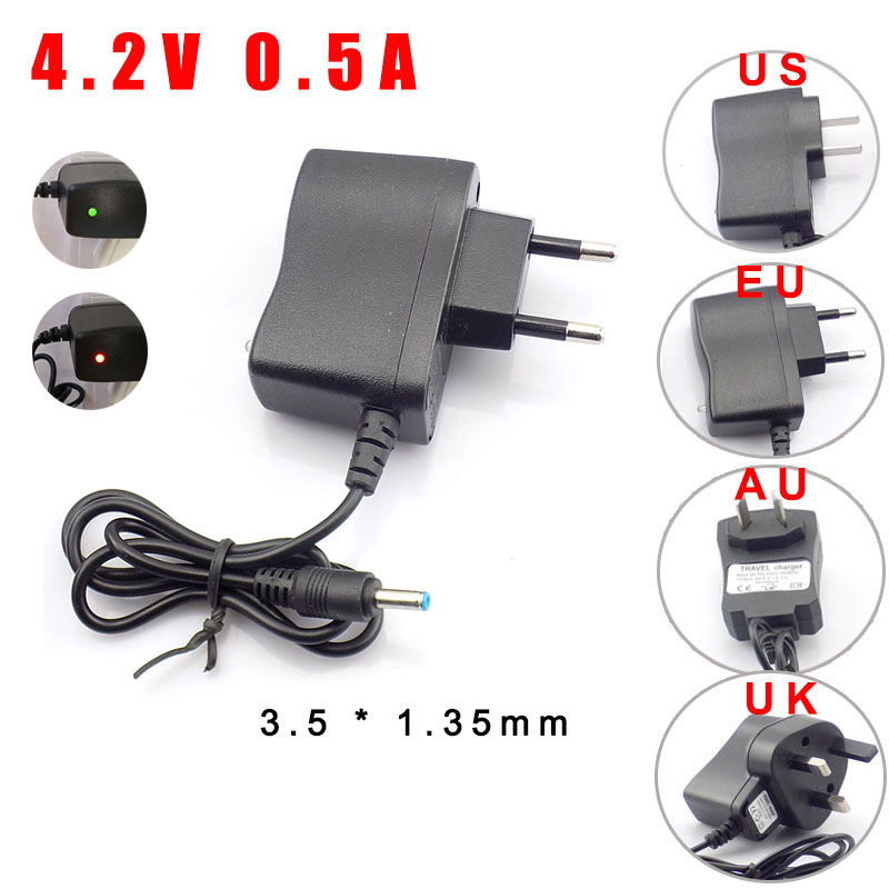 QvvCev AC DC 4.2V 500MA 3.5mm Home Wall EU US Plug 18650 Rechargeable Battery Charger