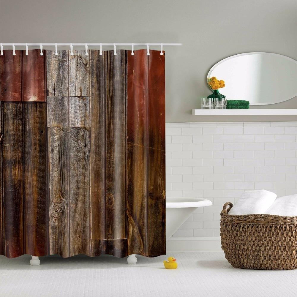 papa e mima legno stampato tende da doccia impermeabile poliestere tende bagno con ganci decorativi vasca