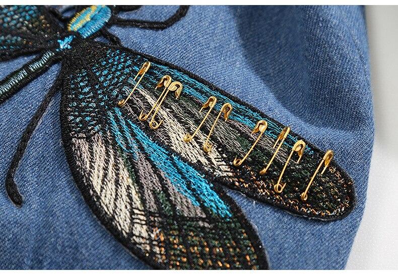 Long Bleu Dames Jupe Ins Imprimer Chaude Main Manteau Rivet Veste Vêtements Denim Extérieur 3d Du Commerce Hongsonghan Broches Broderie Style 3FTlcK1J