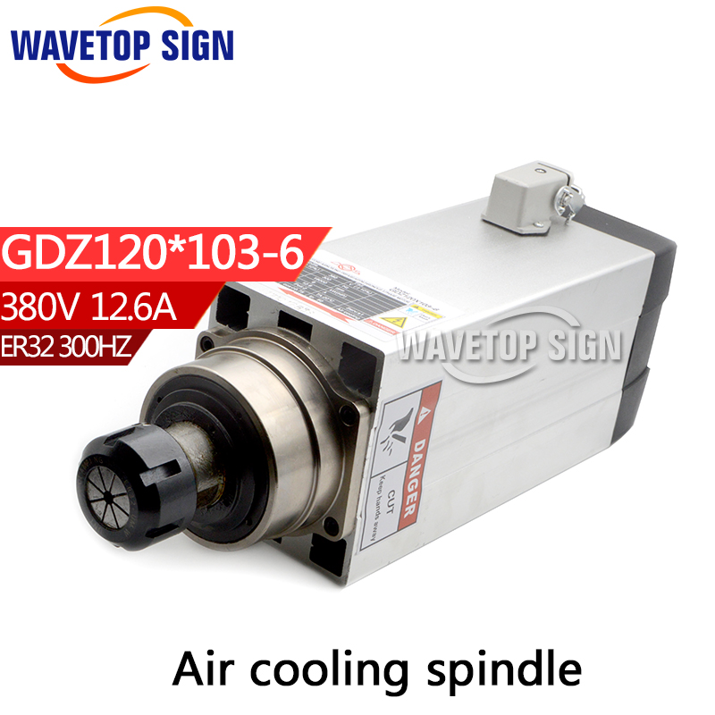 air cooling spindle  GDZ120*103-6  6kw  3 phase 380V 12.6A air cooling  chuck nut  ER32 300HZ 18000RPM cnc spindle 7 5kw air cooling cnc spindle gdz120 103 7 5 7 5kw 380v air cooling chuck nut er32