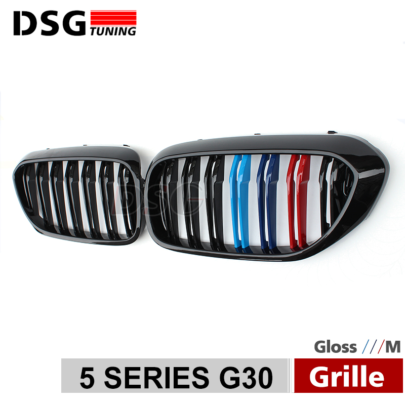 For BMW 5 Series G30 G38 M5 Front Kidney Bumper Racing Grill 2 Fin ABS Gloss Black M Grille Replacement 520i 530i 540i f20 abs grill front bumper hood grille for bmw f21 2010 2014