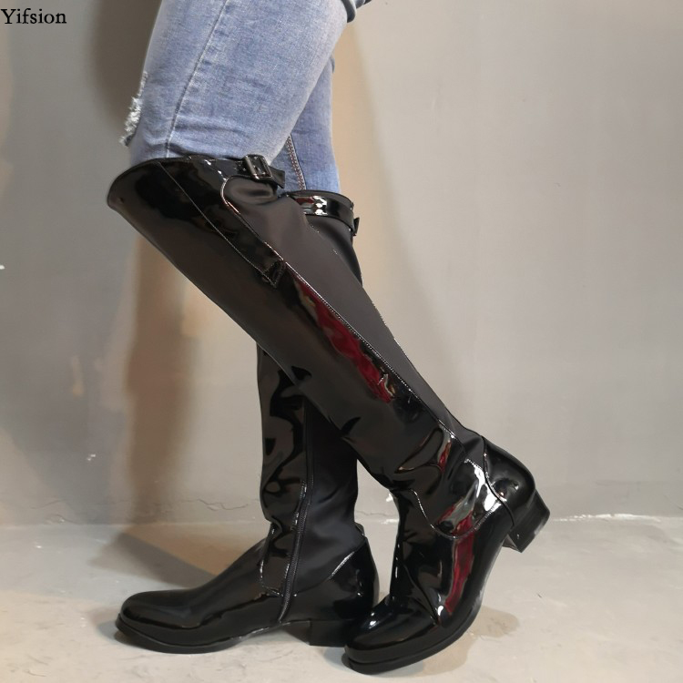 Yifsion New Arrival Women Shiny Knee High Boots Sexy Square low Heels Boots Round Toe Charm Black Shoes Women Plus US Size 5-15Yifsion New Arrival Women Shiny Knee High Boots Sexy Square low Heels Boots Round Toe Charm Black Shoes Women Plus US Size 5-15