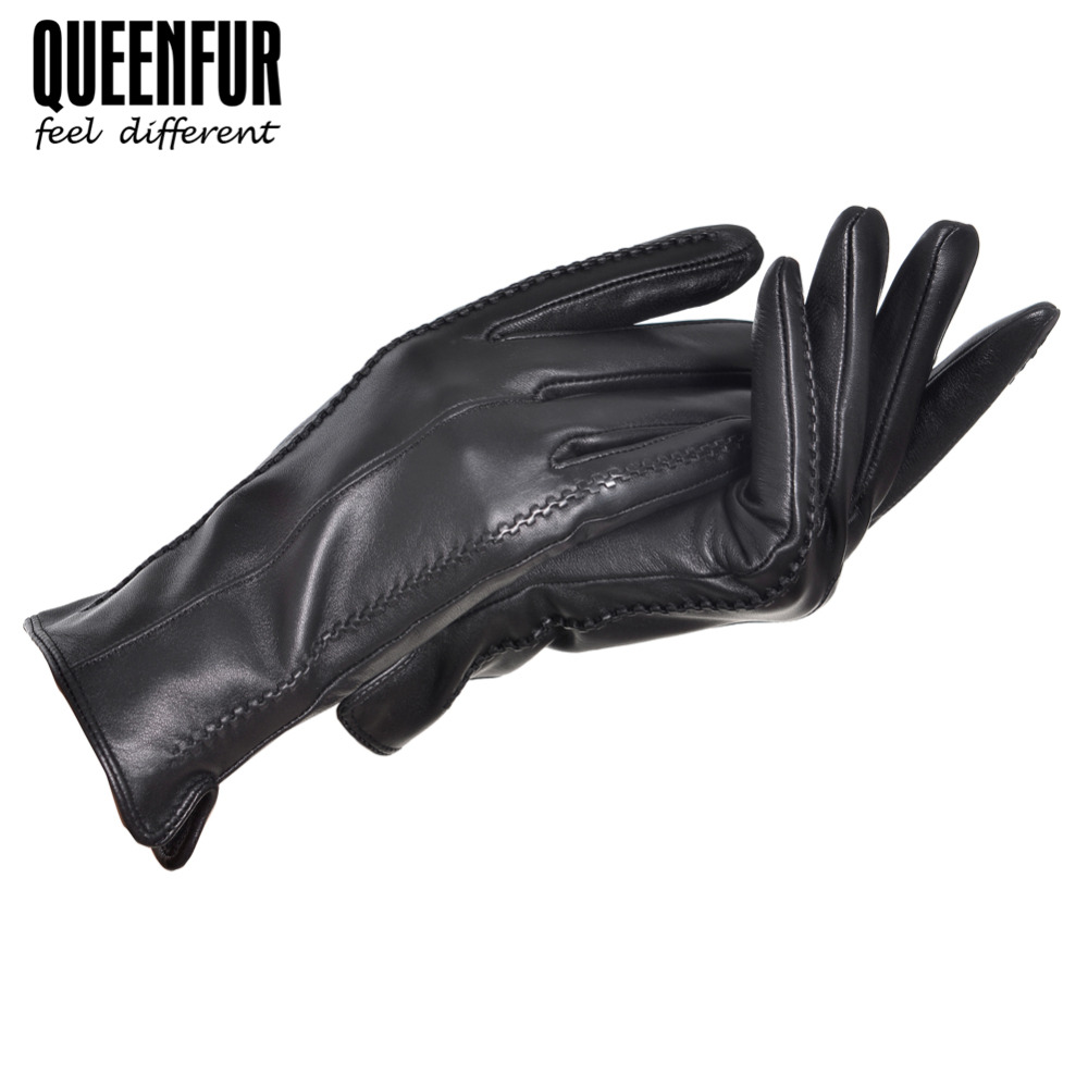 Patent leather driving gloves - Fashion Real Leather Gloves Goatskin Adult Genuine Leather Warm Lined Black Leather Gloves Women Driving Mittens