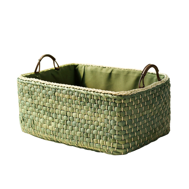 Straw Snacks Storage Basket Square Sundries Clothes Storage Straw Plaited Basket  Closet Organizer