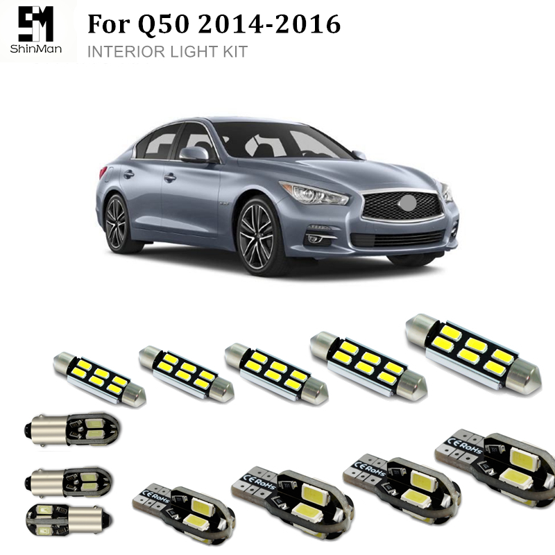 Shinman 12pcs  Error Free LED Interior Light Kit Package For Infiniti Q50 LED Interior Package 2014-2016