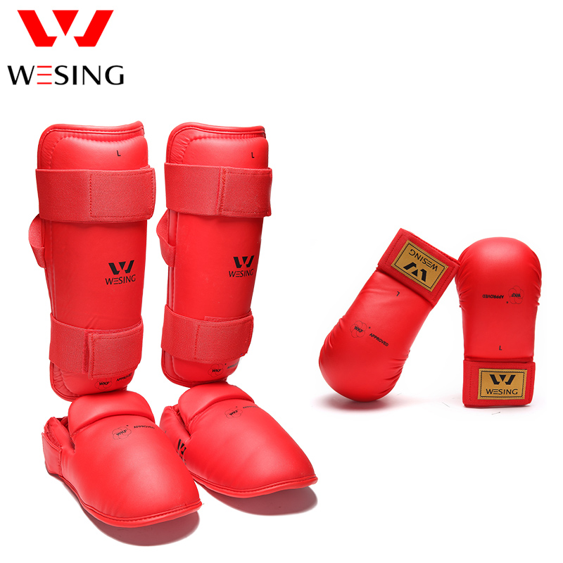 где купить Wesing WKF Approved Karate Shin and Instep Guards shin pad and karate gloves karate equipment protector set competition по лучшей цене