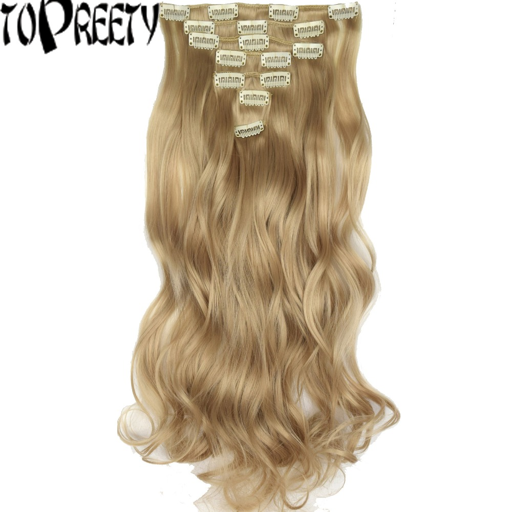 "TOPREETY Heat Resistant B5 Synthetic Fiber 130gr 20"" 50cm Body Wave Clip in hair Extensions 7pcs/set Full Head"
