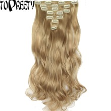 Heat Resistant Synthetic Fiber Body Wave 7pcs/set Clip in hair Extensions 7008