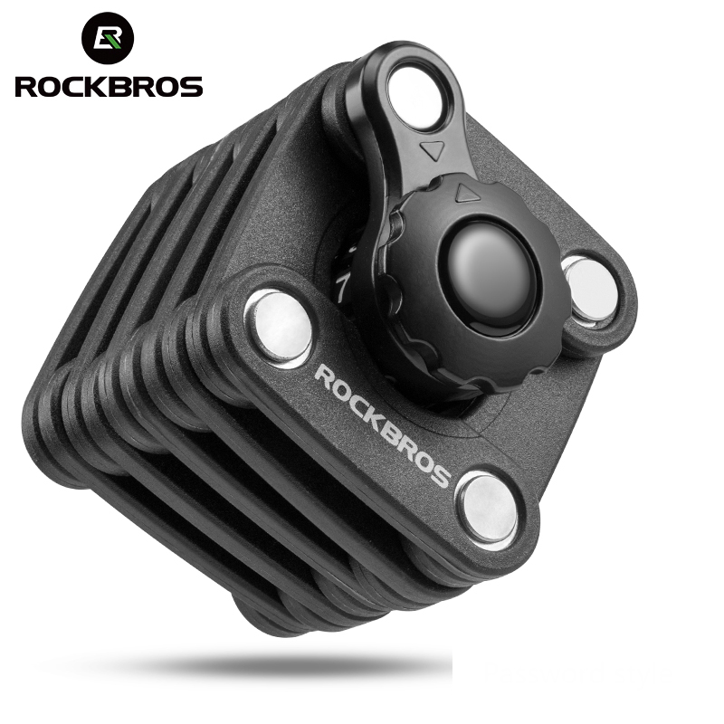 ROCKBROS Bike Lock Bicycle Password Lock Mini Portable Anti Theft Foldable Chain High Security Resistant Cycling