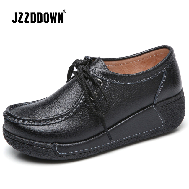 JZZDDOWN genuine Leather shoes woman platform Lace up women sneakers platform Casual Loafers Luxury female Ladies shoes